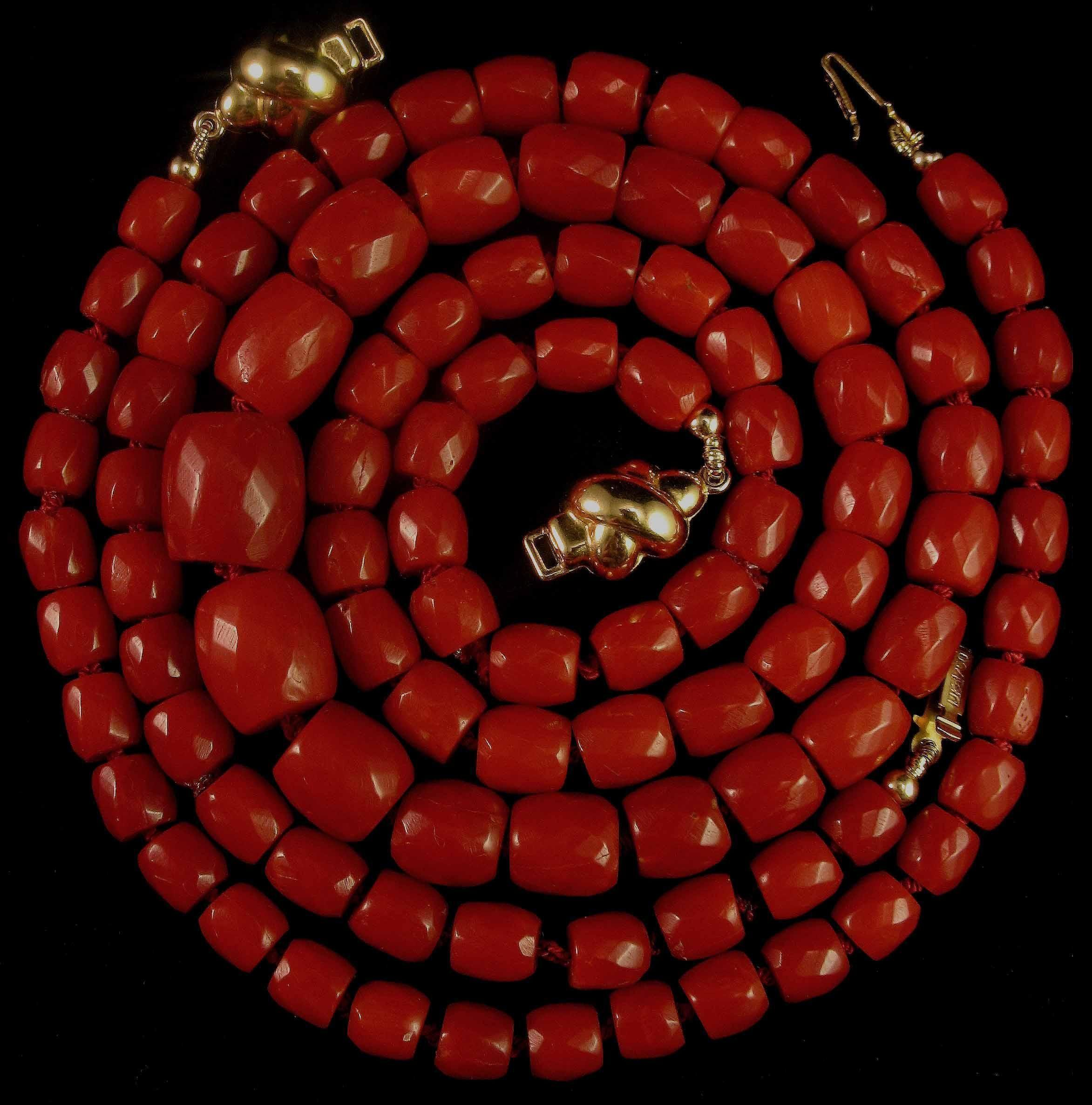 Magnificent 18K Oxblood Red Coral Faceted Bead Necklace & Bracelet Suite - 42.3 grams