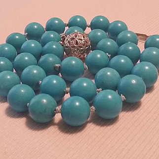 Divine 14K White Gold Persian Turquoise 11mm Bead Necklace & Earrings - 76.1 grams