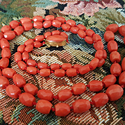 Opera Length 18K Sardinian Red Coral Facetted Bead Necklace - 43.5 grams