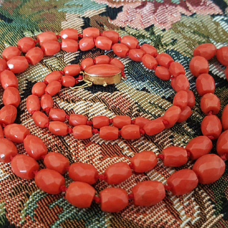 Opera Length 18K Sardinian Red Coral Faceted Bead Necklace - 43.5 grams