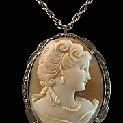 Victorian Revival Portrait Shell Cameo Brooch Pendant 800 Silver & Marcasites