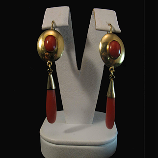 1970's Italian Chic 18K Sardinian Red Coral Cabochon Drop Earrings