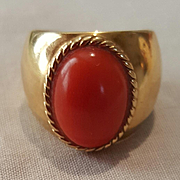 So Splendid 18K Sardinian Red Coral Cabochon Ring - 7 grams