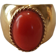 So Splendid 18K Sardinian Red Coral Cabochon Ring - 7 grams