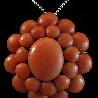 So Beautiful Late Victorian Multi Coral Cabochon Brooch & Necklace Pendant - 19 grams