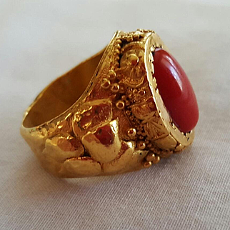 Decadent 22K Oxblood Red Coral Cabochon Ring - 21.8 grams