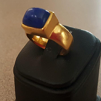 Oh My 22K Lapis Cabochon Ring by Me & Ro -22.7 grams