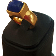 22K Gold & Lapis Cabochon Ring by Me & Ro -22.7 grams