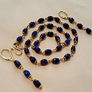 Me & Ro 18K Lapis Lazuli Faceted Bead & Link Necklace and Earring Suite