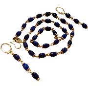 Me & Ro 18K Lapis Lazuli Faceted Bead Station & Link Necklace and Earring Suite