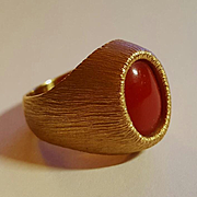 Fine Italian 18K Oxblood Red Coral Cabochon Ring - 18.2 grams