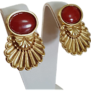 Italian Splendor 18K Oxblood Red Coral Cabochon Earrings 15.6 grams
