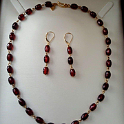 Extraordinary Me & Ro 18K Faceted Garnet Bead Link Necklace and Earring Suite