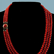 Gorgeous 14K Dutch Blood Red Coral Triple Strand Bead Necklace
