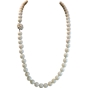 """23"""" White Coral 9mm Bead Necklace Carved Sun Flower Clasp"""
