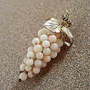 Delicious White Angel Skin Coral Bead Grapes Brooch 800 Silver Gold Vermeil