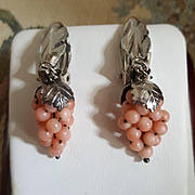 Fun & Flirty Pink Rosa Coral Grapes 925 Sterling Silver Clip Earrings
