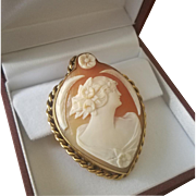 "Most Beautiful 2"" 12ct Gold Shell Cameo Pendant & 14K Cultured 5-6mm Pearl Necklace"