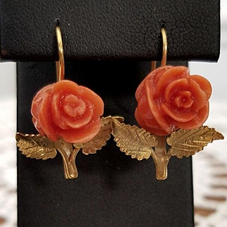 Autumn Glories Carved Coral Rose Earrings Pierced Wires 18K Gilt