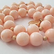 Blushing Beauty 14K Gold Large Bead Pink Coral Necklace - 80.7 grams