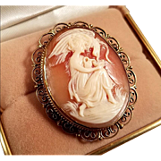 Victorian 800 Silver Gold Vermeil Shell Cameo Hebe Feeding the Eagle Brooch Pendant