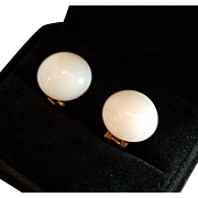 Glowing 1950's White Coral 13.5mm Button Cabochon Earrings