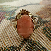 Sweet Edwardian 10K Pink Rosa Coral Cameo Ring - 4.9 grams