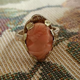 Sweet Edwardian 10K Pink Rosa Coral Cameo Ring - 4.9 grams