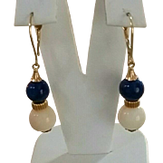 Elegant 18K Coral & Lapis Bead Drop Earrings  4.9 grams
