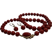 Crimson Beauty 18K Dark Oxblood Red Coral 8-9mm Bead Necklace & Earring Suite - 53 grams