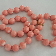 1960s Large Bead 14K Mediterranean Pink Rosa Coral Necklace 10-11mm 72 grams