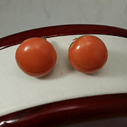 Vintage Chic 14K Coral Button 16.25mm Cabochon Earrings - 12.6 grams