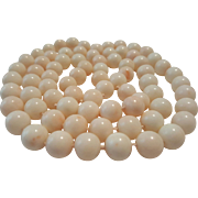 "Amazing 37"" White Angelskin Coral Bead 11-11.6mm Necklace - 152.3 grams"