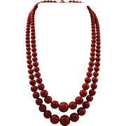 "Enchanting 20"" 18K Double Strand Sardinian Red Coral 5.2-11.78mm Bead Necklace 60.9 grams"