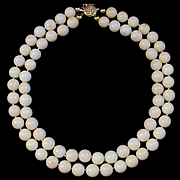 Gorgeous 14K Double Strand 10mm White Coral Bead Necklace - 105.3 grams