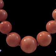 1940's Chinese Coral 7.5-13.9mm  Bead Necklace w/ Silver Bead Clasp 57.6 grams