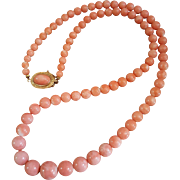 "Gorgeous 26"" 18K Rosa Coral 5.7-13mm Bead Necklace 66.8 grams"