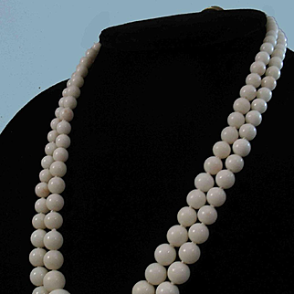 Divine 18K Double Strand White Coral 4-8-13.8mm Bead Necklace 66 grams