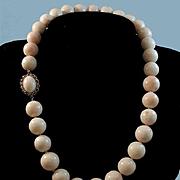 Elegant 18K Gold Large Bead Blush Angel Skin Coral Bead Necklace - 114.5 grams