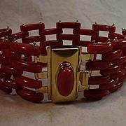 Elegant 18K Sardinian Red Coral Gate Link Bracelet