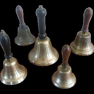 5 Antique Wood Handled Bells