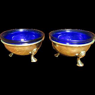 Pr Vintage Sterling Salts w/ Cobalt Glass Liners