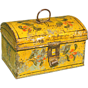 19th c. Am. Yellow Ptd. Tole Box