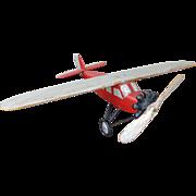 1930's Folk Art Painted Airplane Model