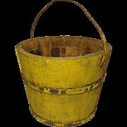 19th c. Am. Yellow Ptd. Bucket