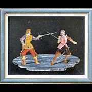 Vintage Pietra Dura Plaque of Dueling