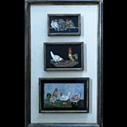 3-Vintage Pietra Dura Bird Plaques