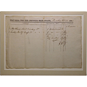 1823 Concord Mail Stage Way-Bill Document
