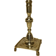 18th c. Spanish Brass Footed Candlestick