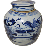 Antique Canton Porc. Ginger Jar & Cover 1840-60